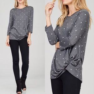 SALLIE Twist Detail Top - CHARCOAL